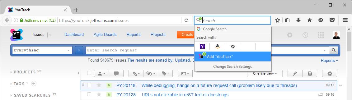Opensearch firefox menu