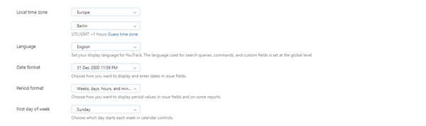 YouTrack general profile settings