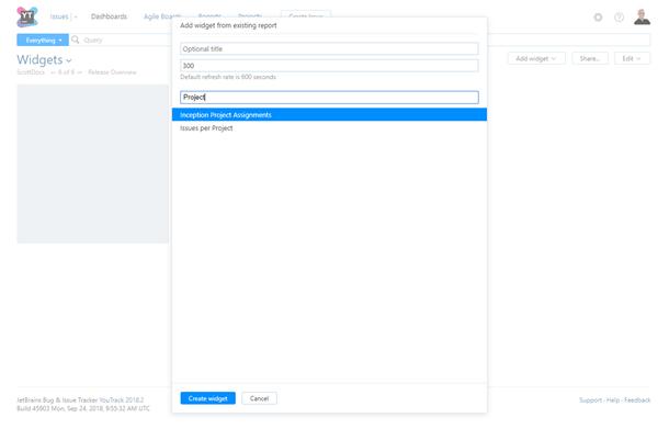 Report widget settings