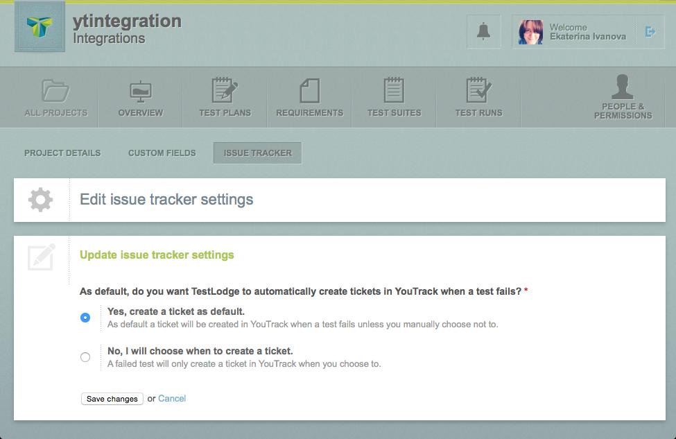 Testlodge edit project tracker settings