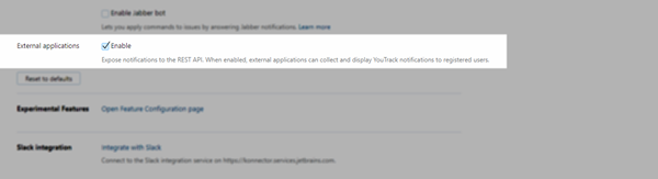 enable notifications in external applications