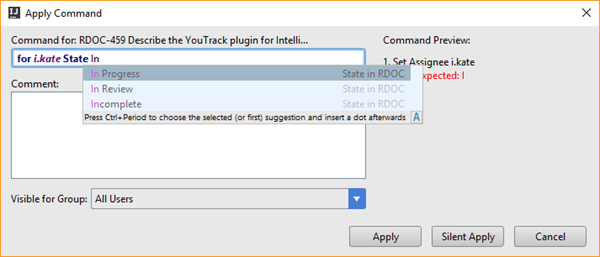 Youtrack integration command window