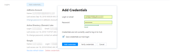 Add credentials options