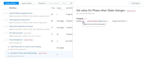 Detach workflow rule in project