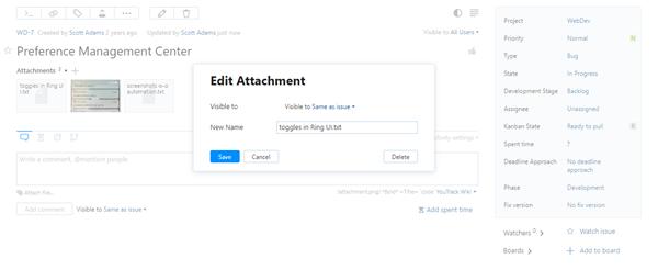 Edit attachment dialog