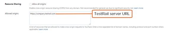 add TestRail server to list of trusted origins