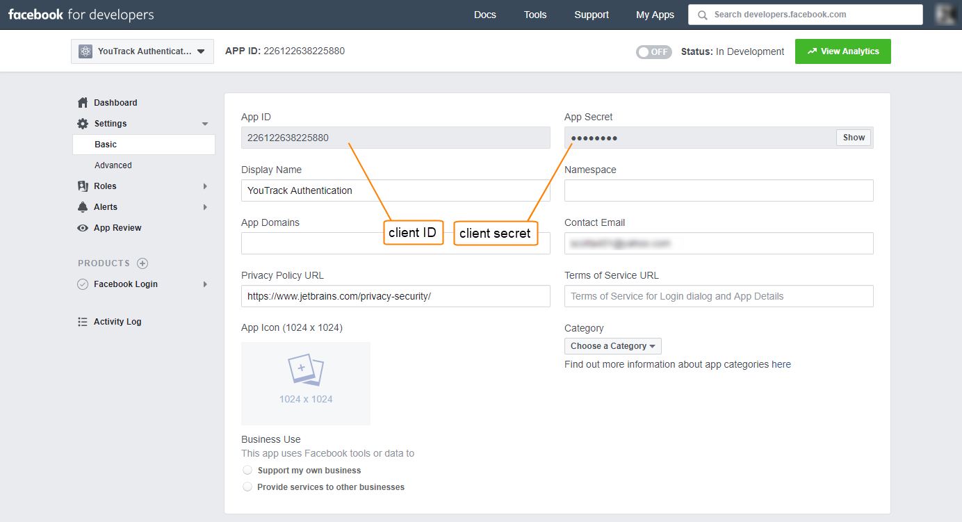 Facebook Auth Module - Help   YouTrack InCloud