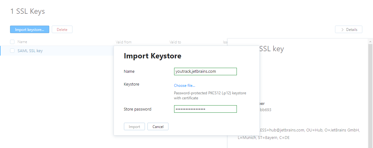 SSL Keys - Help   YouTrack InCloud