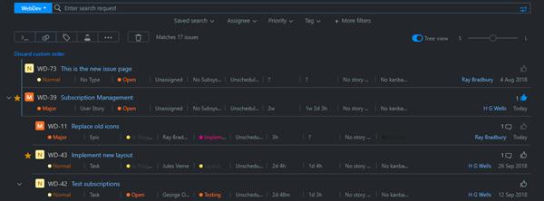 Issues list dark theme