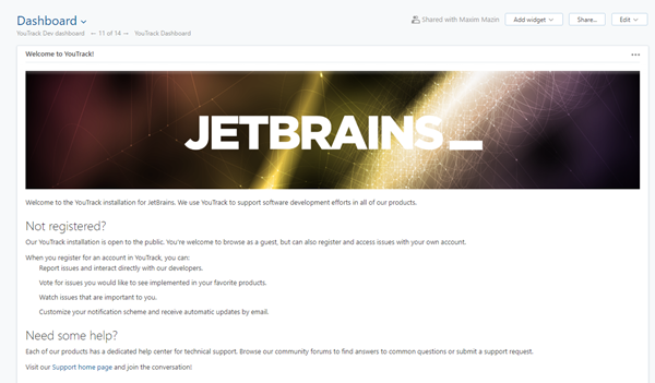 JetBrains guest dashboard