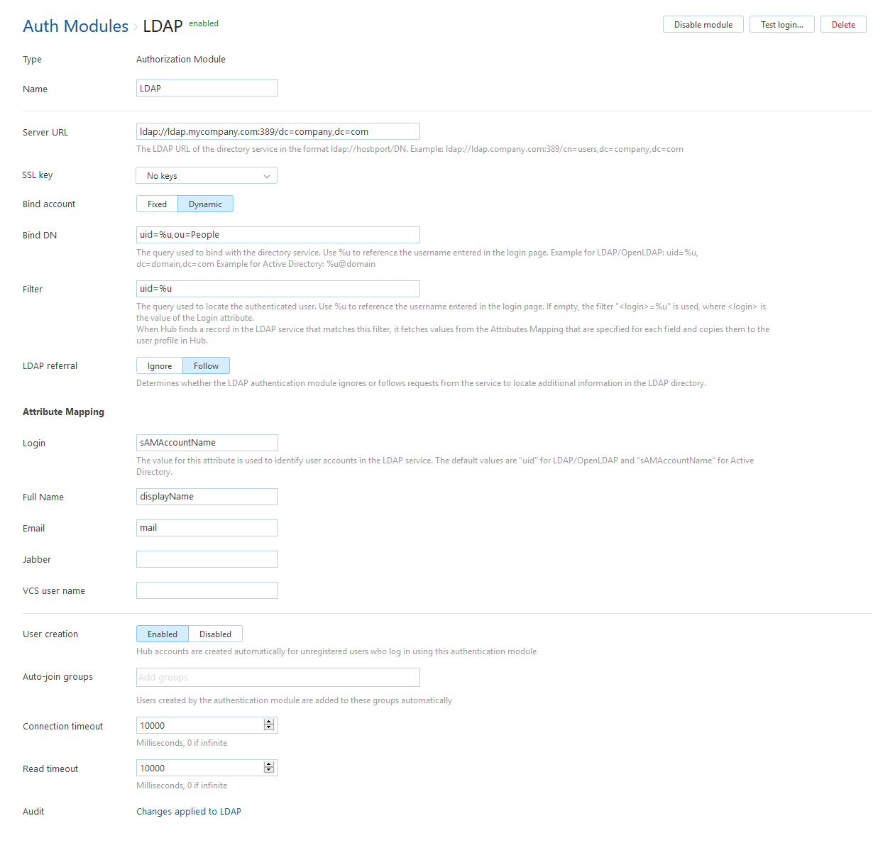 LDAP Auth Module - Help | YouTrack Standalone