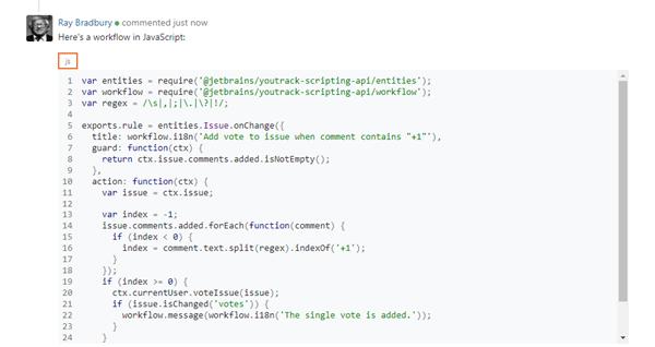 Fenced code block set as JavaScript.