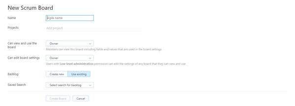 New board settings