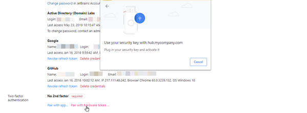 Chrome dialog for pairing with a hardware device, no fingerprint sensor.
