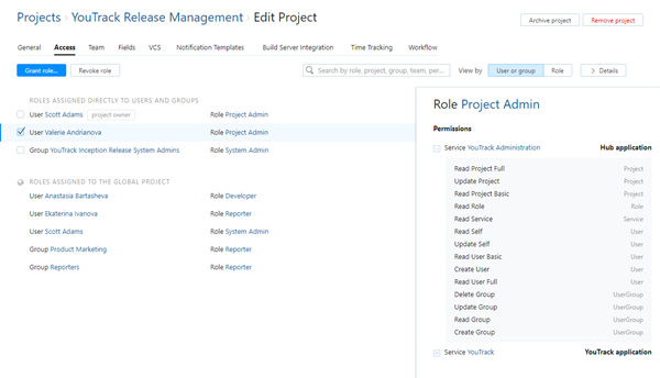 Project access by user or group