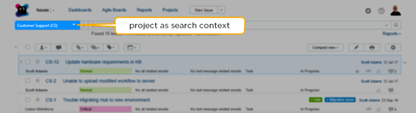 project as search context