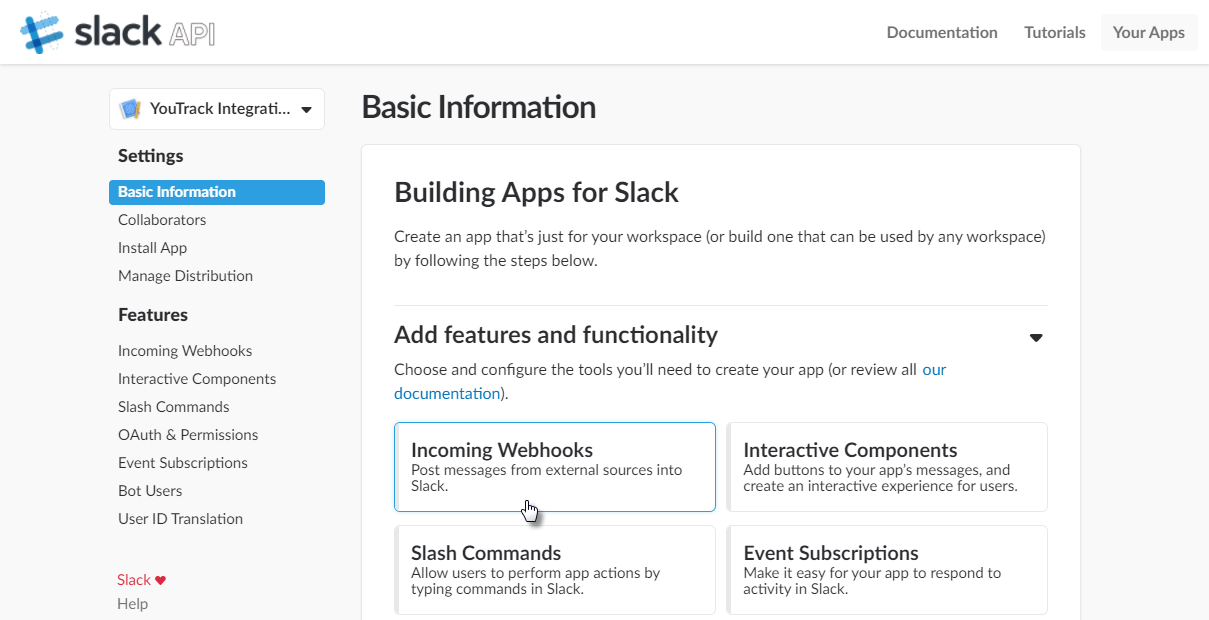 Building Integrations with Slack - Help   YouTrack Standalone