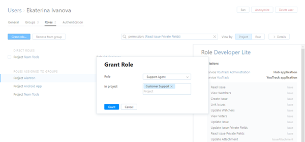 User grant role dialog