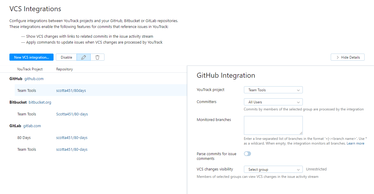 VCS Integrations - Help | YouTrack Standalone