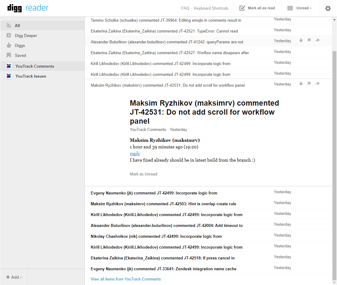 RSS Feeds - Help   YouTrack Standalone