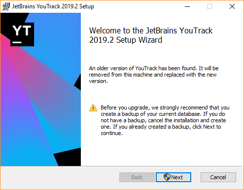 Youtrack setup wizard upgrade