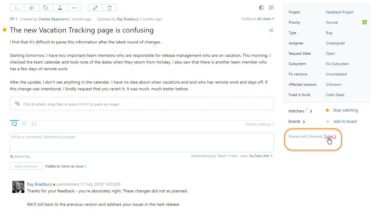 Zendesk Integration - Help | YouTrack InCloud