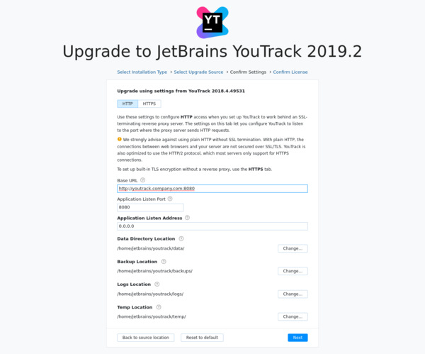 YouTrack JAR upgrade settings