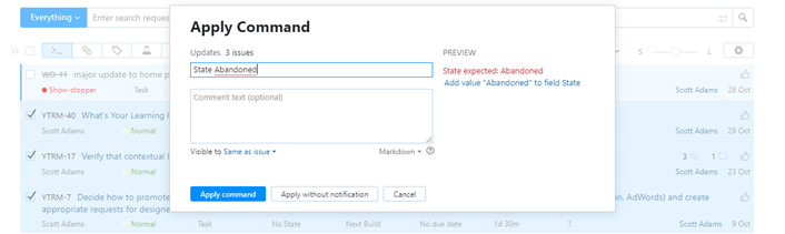 Adding a value to a custom field directly in the Apply Command dialog