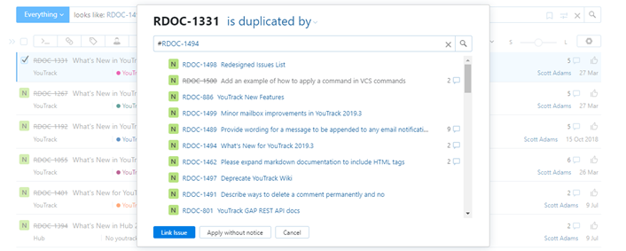 Dialog for linking the selected issue to one or more target issues.