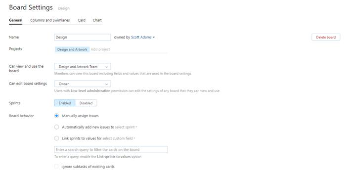 Board settings general