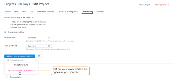 define new work item type in project