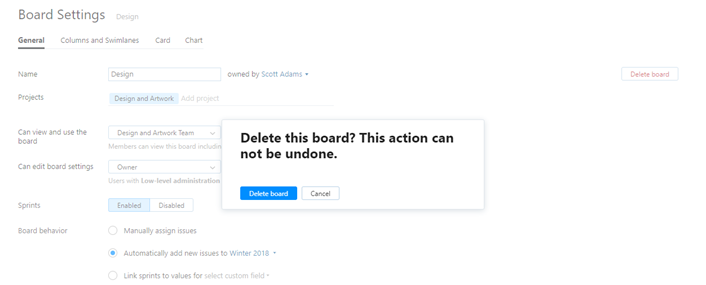 Delete board confirmation
