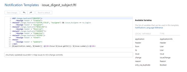 Edit notification template
