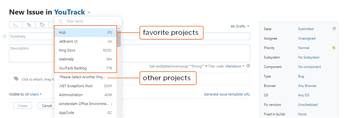 favorite projects in project field