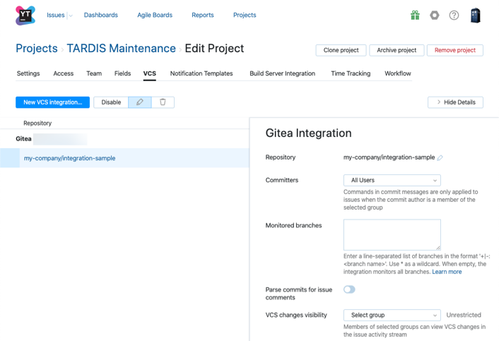 Gitea integration settings