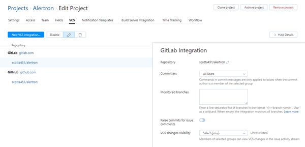 GitLab integration settings