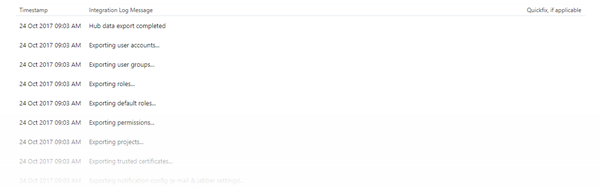 Hub integration log
