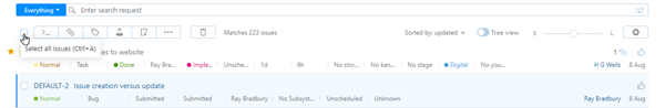 Checkbox for selecting all of the issues on the current page.