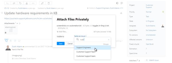 Attach files privately