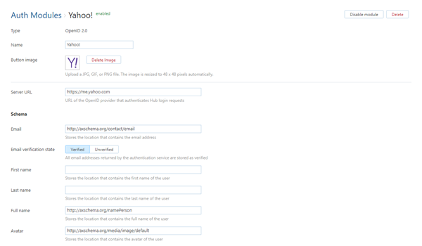 Yahoo! auth module settings