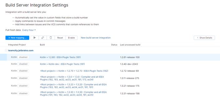 build server integration settings