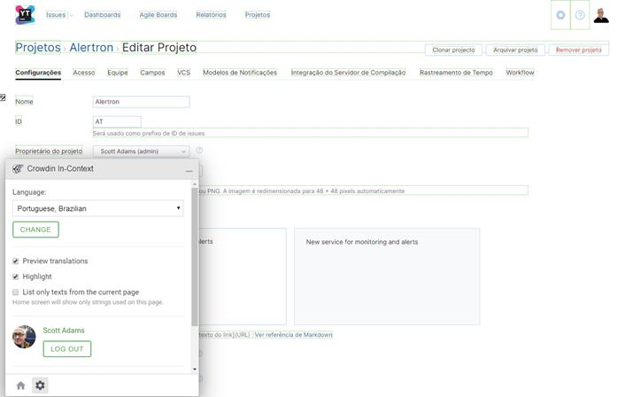 Crowdin in-context translation menu.