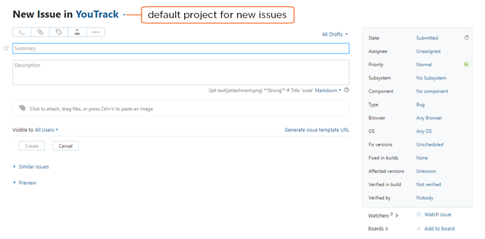 default project for new issue