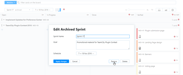 Restore option in the Edit Archived Sprint dialog.