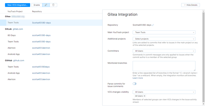 Gitea integration settings