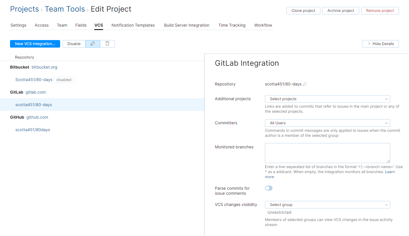 GitLab integration settings