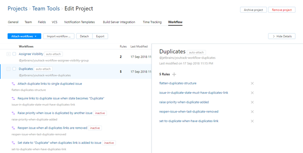 Inactive workflow rules in project