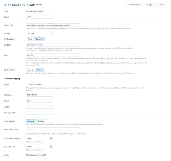 Ldap auth module settings