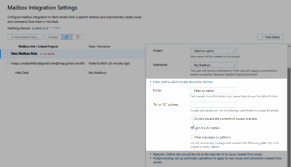 mailbox rule filter options
