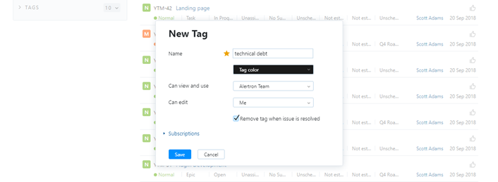 The New Tag dialog